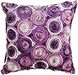 Avarada Triple Colour Floral Bouquet Throw Pillow Cover Decorative Sofa Couch Cushion Cover Zippered 16x16 Inch (40x40 cm) Purple
