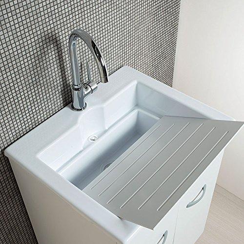 Mobile lavanderia con lavabo Zeus in ABS doppio uso 60x50