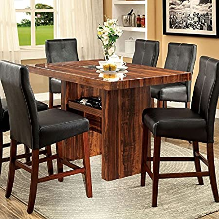 Matson Transitional Style Vintage Cherry Finish 7-Piece Counter Height Table Set