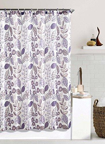 Purple Ivory Floral Fabric Bathroom Shower Curtain