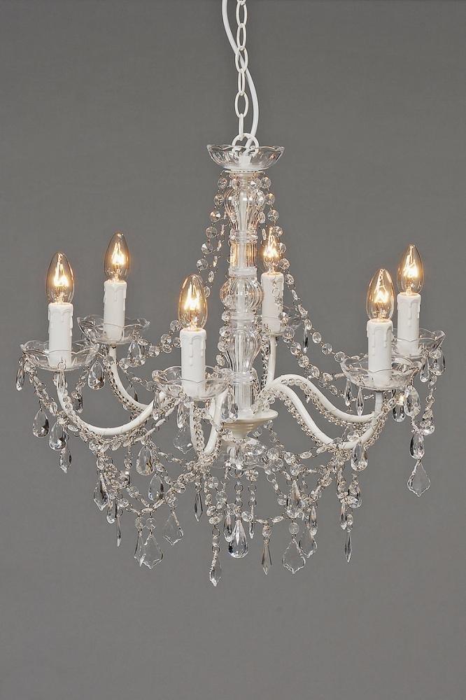 Deckenlampe, Kronleuchter Allison in silber/weiß mit Deko Diamanten, Ø ca. 57 cm