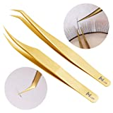 MeiYi 2 Pieces Dolphin-shaped and Curved Tip Tweezers Nipper for Eyelash Extensions, Stainless Steel Tweezers Precision Set Professional Tweezer for False Lash, for Single Lash and 3D-6D Volume Lashes (Color: Golden)