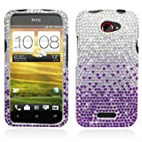 61ksfqNVVpL. SL160  PURPLE WATERFALL Rhinestone/Diamond/Crystal/Bling Hard Plastic Protector Case Cover For HTC ONE X S720E (AT & T)