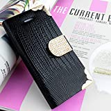 61ksj%2Bwf7uL. SL160  myLife (TM) Black {Crocodile Skin and Buckle Design} Faux Leather (Card, Cash and ID Holder + Magnetic Closing) Slim Wallet for the iPhone 5C Smartphone by Apple (External Textured Synthetic Leather with Magnetic Clip + Internal Secure Snap In Hard Rubberized Bumper Holder)