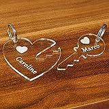 Acrylglas Liebes-Anhänger, individuell graviert, Namensschilder, Schlüsselanhänger in verschiedenen Formen zur Auswahl, Form:Herz mit Schlüssel