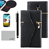 Pandamimi ULAK(TM) Black Dexule Travel Wristlet Wallet Clutch Bag Pouch Case Cover for Samsung Galaxy S4 i9500 With Screen Protector and Stylus(cleaning cloth with ULAK Logo)