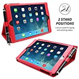 Snugg Red Leather iPad Mini & Mini 2 Retina Case with Lifetime Guarantee _ Flip Stand Cover with Auto Wake/Sleep, Elastic Hand Strap & Protective Premium Nubuck Fibre Interior for the Apple iPad Mini & Mini Retina