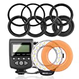 Meike Fc-110 LED Macro Ring Flash Light for Canon EOS Nikon Pentax Olympus Camera with 40.5mm 52mm 55mm 58mm 62mm 67mm 72mm 77mm 8 Adapter Rings and W