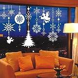 クリスマス飾り 雪の結晶 天使 サンタ ウォールステッカー オーナメント転写式 メリークリスマス シール装飾 ガーランド