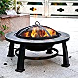 Fire-Pit-Sale-Today-This-Wood-Burning-Fire-Pit-Can-Replace-Gas-Fire-Pits-Guarenteed-This-30-Round-Slate-Fire-Pit-Design-Is-an-Ideal-Outdoor-Backyard-Patio-Fire-Pit-Table-Fire-Pit-Accesories-Mesh-Cover