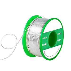 Yakamoz Lead Free Solder Wire Sn99.3 Cu0.7 with 2% Flux Rosin Core for Electrical Soldering 90g/ 0.2lb (0.3mm) (Tamaño: 0.3mm)