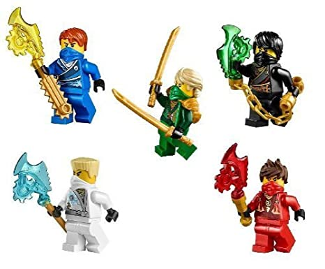 LEGO® Ninjago (TM) Ninja's set of 5 - Lloyd, Cole, Jay, Kai, Zane Techno Robe minifigures (2014)