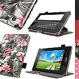 igadgitz Pink auf Schwarz Blumen PU Ledertasche Hülle Cover für Acer Iconia One 7 B1-730HD mit Stylus-Stift Elastischen Halter + Multi-Winkel Betrachtungs + Handschlaufe + Displayschutzfolie