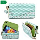 Crossbody clutch cell phone holder in a white/mint blue tribal design universal fit Samsung Galaxy S II Skyrocket HD i757