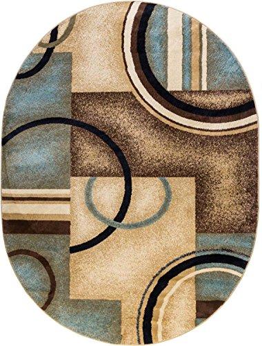 Light Blue Modern Rug, 5-Feet 3-Inch x 6-Feet 10-Inch OVAL Geometric