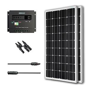 Renogy Solar Panel Bundle 200Watt: 2 100w Solar Panels UL Listed monocrystalline+MC4 adaptor Cable+PWM 30Amp Charge Controller