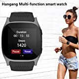 Hangang Bluetooth Smart Watch, TOP-MAX T8M Fitness Tracker Smartwatch with Pedometer Hands-free telephone for Android and IOS Smartphone (Black) (Color: Black)