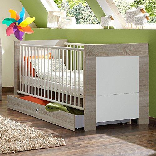 Babybett inkl. Bettschubkasten »MIRA« alpinweiß – Eiche sägerau