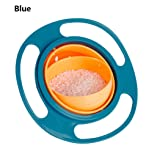 Bifast Baby Bowl Children Tableware Non Spill Bowl Toy Dishes Universal 360 Rotate Avoid Food Spilling Food Snacks Bowl Lunch Box Children Christmas Gifts (Blue) (Color: Blue)