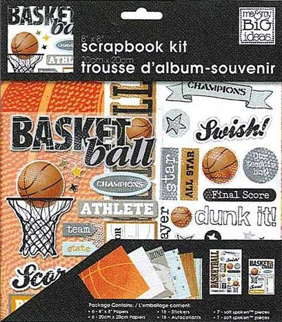 Me and My BIG Ideas PK-267 8-Inch by 8-Inch Scrapbook Page Kit, Basketball