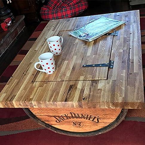 Mezza whisky barile tavolino con piano in rovere massiccio, riciclato, jack Daniel' s logo e vano portaoggetti