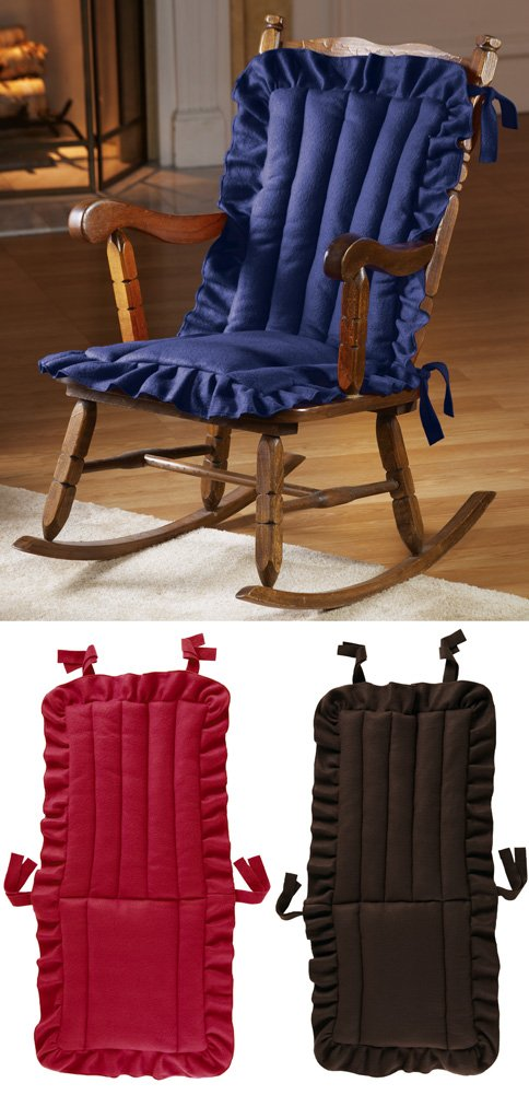 quilted ruffle chair cushion red or blue tie on back rocking rocker pad ebay. Black Bedroom Furniture Sets. Home Design Ideas