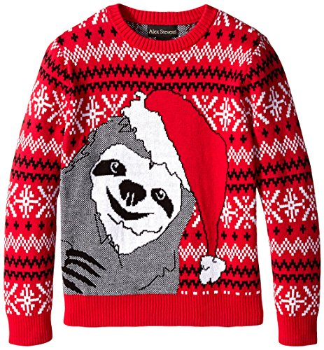 Alex Stevens Big Boys' Slothy Christmas Sweater, Red Combo, Large