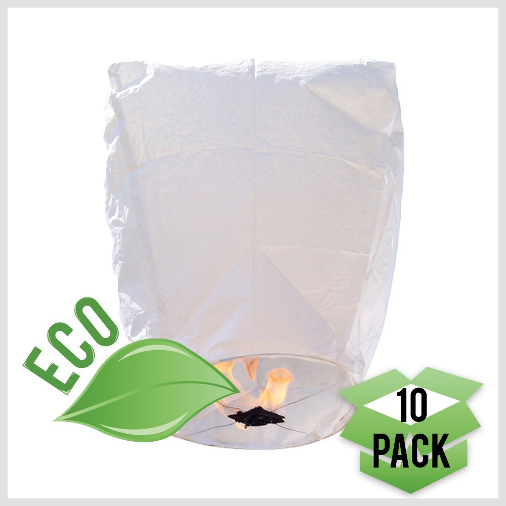Just Artifacts ECO Wire-Free Flying Chinese Sky Lanterns (Set of 10, Eclipse, White) - 100% Biodegradable, Environmentally Friendly Lanterns!