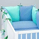 Set de 10 piezas de ropa de cama de beb�: protector de cuna 6 unidades, Edred�n para beb� tama�o grande, con funda de edred�n, funda de almohada, dise�o de peque�os oreiller. peque�os lunares, color verde y azul azul Talla:lit b�b� de 120 x 60