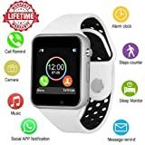 Bluetooth Smart Watch Anti-Lost Smartwatch Touch Screen with SIM Card Slot Camera Music Player Support Android Samsung Huawei Sony iOS iPhone, Sweatproof Sports Fitness Tracker for Women Men Kids (Color: White-black, Tamaño: M3)