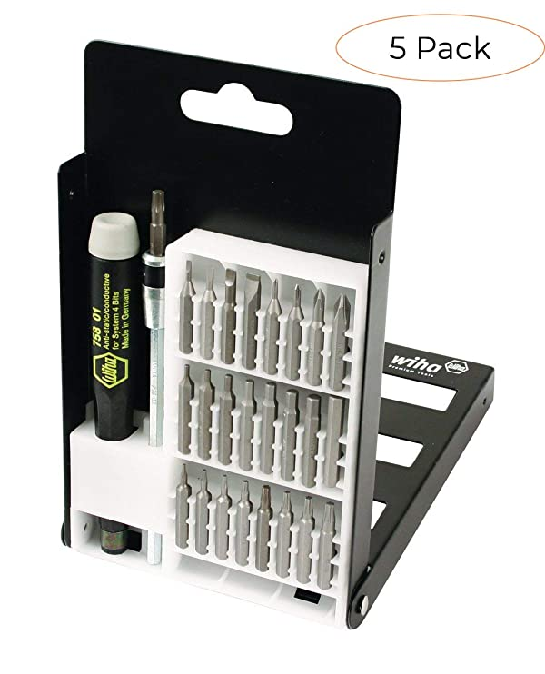 Wiha 75992 System 4 Precision Interchangeable Bit Set, Torx, Slotted, Phillips, Hex Inch, ESD Safe Precision Handle, 27 Piece In Compact Box (Pack 5) (Tamaño: Pack 5)
