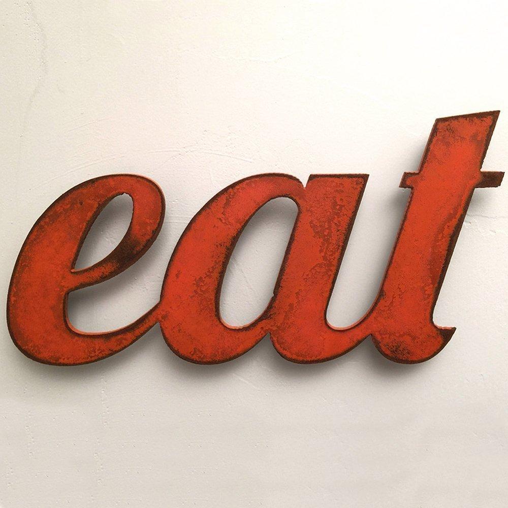 11 inch long eat metal wall art word - Handmade - Choose your patina color 0