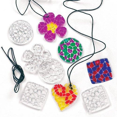 Lot de 12 Pendentifs Mosaïque en Cristal à colorier avec collier - Idéal comme cadeau à offrir