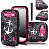 E-LV Deluxe Anchor Print Hard Soft High Impact Armor Case Combo for Samsung Galaxy S3 i9300 with 1 Screen Protector, 1 Black Stylus and E-LV Microfiber Sticker Digital Cleaner (Anchor Hot Pink)