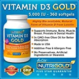 Nutrigold Vitamin D3 Gold (in Organic Olive Oil), 5000 IU, 360 softgels ~ Nutrigold
