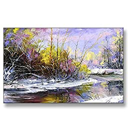 Neron Art - Hand painted Abstract Oil Painting on Gallery Wrapped Canvas - Magic Glade 48X30 inch