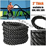 """Battle Rope NEXPro - Polydac Undulation Rope Exercise Fitness Training - 2"""" width Avail. in 30ft, 40ft, 50ft Length BLACK"""