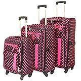 American Green Travel Polka Dot Luggage Set, Black/Pink