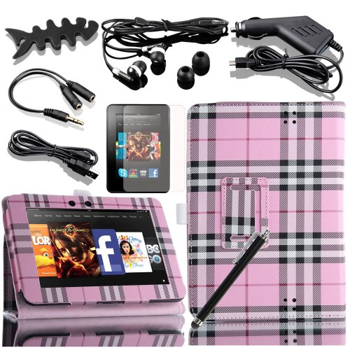 """Snap On Cover Fits Amazon Kindle Kindle Fire Hd 7"""" 1St Generation 2012 8In1 Pink Grid Pu Leather Folio Case+ Lcd Screen Protective Film + Stylus/Pen + Usb Cable + Handsfree Ear Piece + Car Charger + Earphone Splitter Cable (1 In 2 Out)+ Fish-Shaped Earpho"""