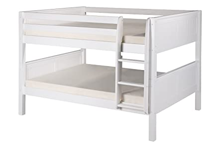 Camaflexi Panel Style Solid Wood Low Bunk Bed, Full-Over Full, Side Attached Ladder, White