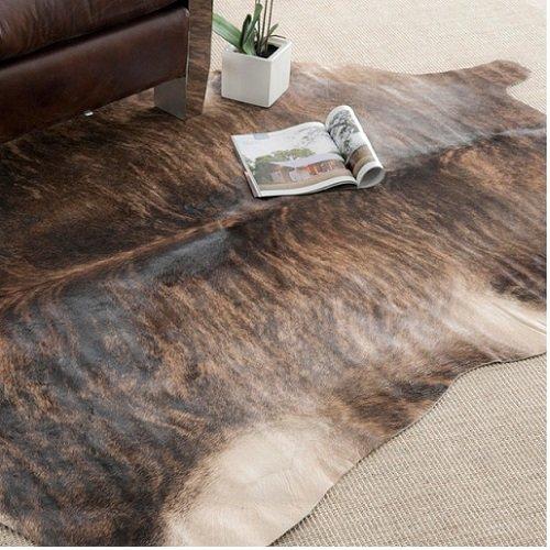 Handpicked Hacienda Argentinian Brown Black Cowhide Leather Rug (5' x 7')