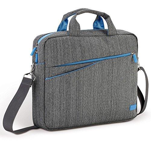 deleyCON-Notebooktasche-fr-Notebook-Laptop-bis-133-337cm-TascheHlle-aus-Leinen-mit-Zubehrfchern-und-verstrkten-Polsterwnden-graublau