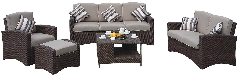 Lounge Loungegruppe Gartensitzgruppe mit Tisch und Kissen Polyrattan braun günstig kaufen