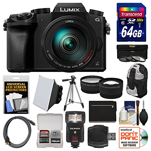 Panasonic Lumix DMC-G7 4K Wi-Fi Digital Camera & 14-140mm Lens with 64GB Card + Case + Flash + Battery + Tripod + Tele/Wide Lens Kit (Panasonic Lumix Wireless compare prices)