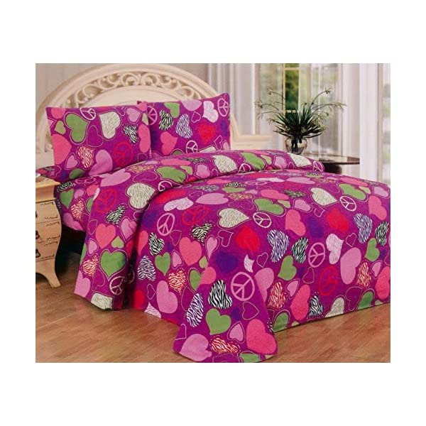 Pink Purple Zebra Hearts Peace Sign Bedding Set