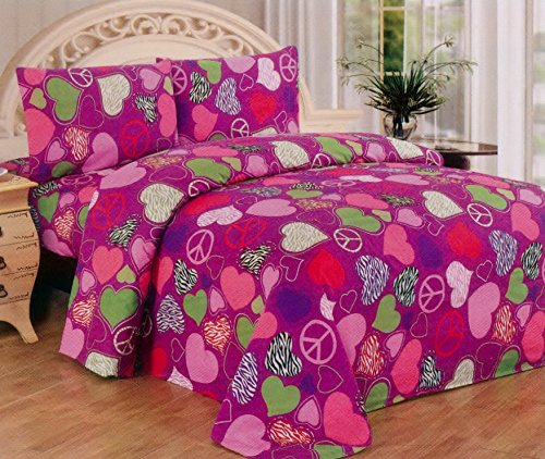 Fancy Collection Pink Purple Zebra Hearts Peace Sign Girls/Teens 3 Pc Sheet Set Pillow Shams Bedding Twin Size front-161518