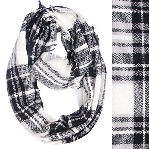 lucky-leaf-women-winter-checked-tartan-scarves-warm-plaid-infinity-scarf-black-white-plaid