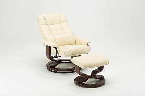 MCombo Relaxsessel Fernsehsessel TV Sessel Sofa kippbar Dreh mit Fußhocker Kunstleder Holzfußen Schwarz/Creme (Creme)
