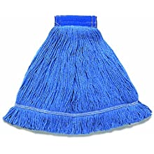 "Wilen A01203, Hospital Pro M Antimicrobial Wet Mop, Large, 5"" Mesh Band, Blue (Case of 12)"