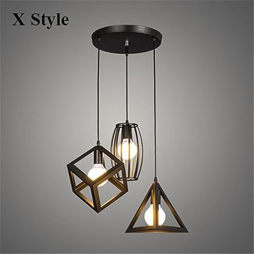 Iluminación colgante,Loft Vintage Focos colgantes colgantes industriales Suspendu Comedor negro jaula pequeña lámpara colgante luminaria de suspensión Accesorios,X-Conjunto de 3